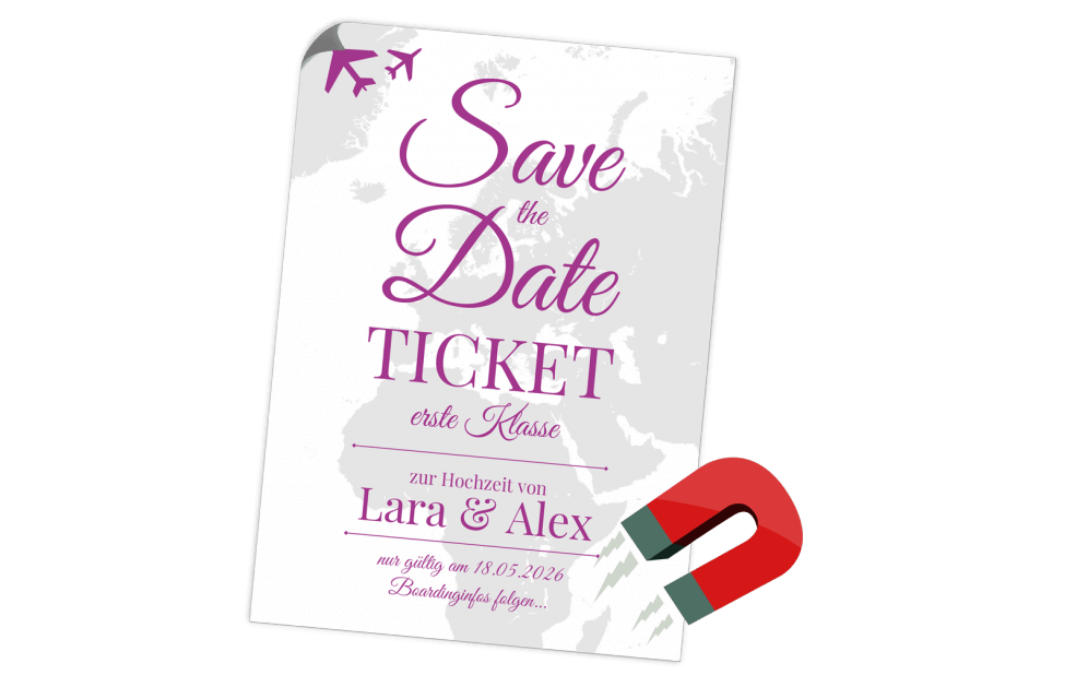Save the Date Flugticket