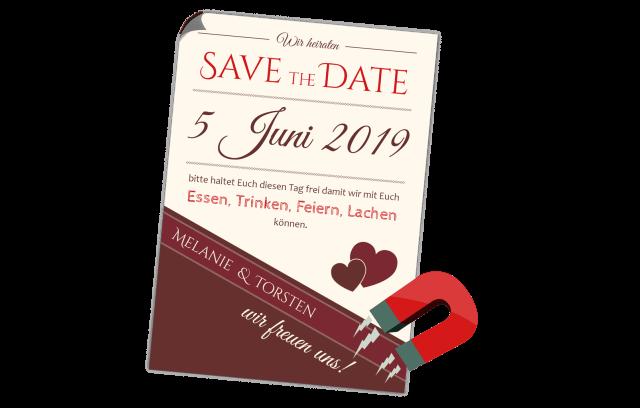 Save the Date Magnetkarte - Rottöne
