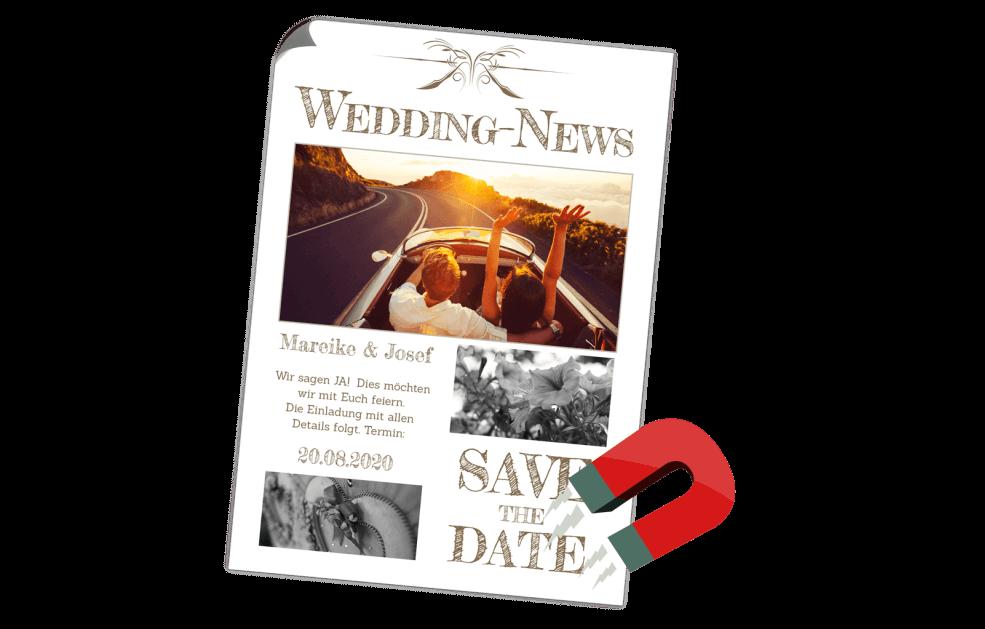 Hochzeitszeitung als Magnet
