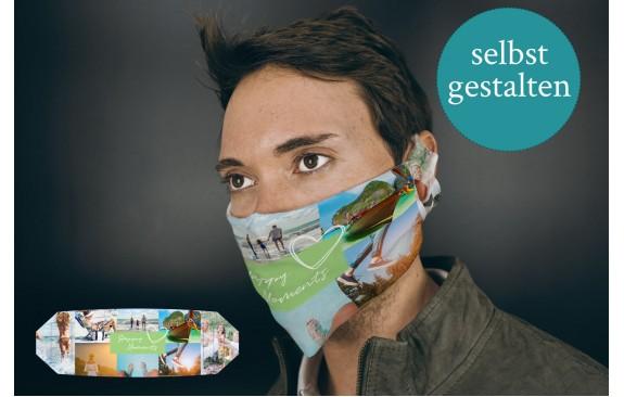 Stoffmaske mit vielen Bildern gestalten