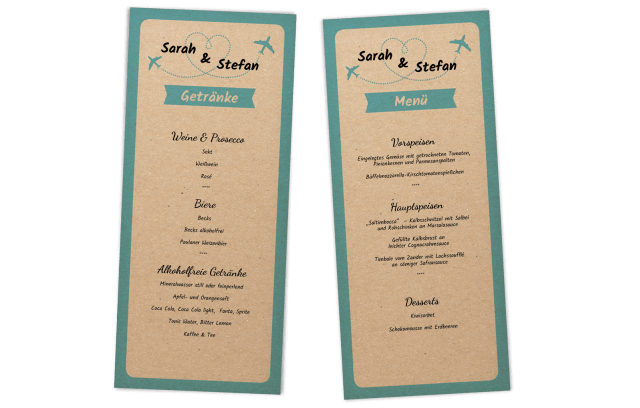 Menükarte auf Kraftpapier - Vintage-Flugticket
