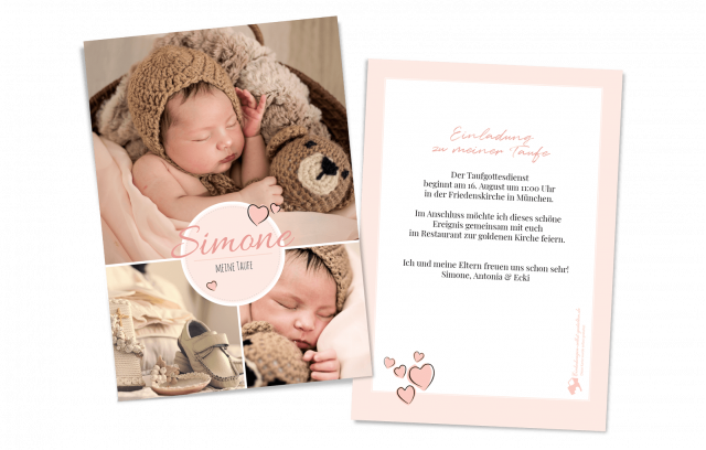 Bildreiche Taufkarte - Rosa