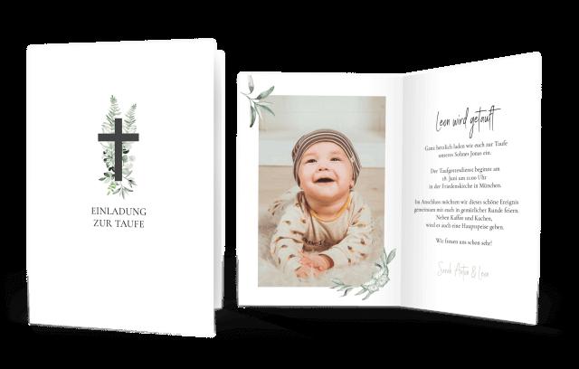 Taufkarte kleines Kreuz