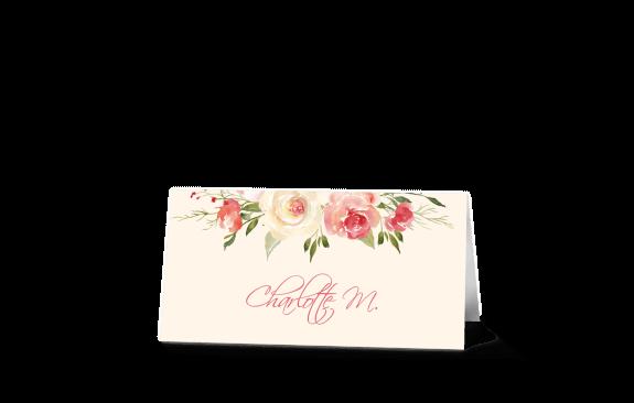 Platzkarten zur Hochzeit - Pastell-Blumen