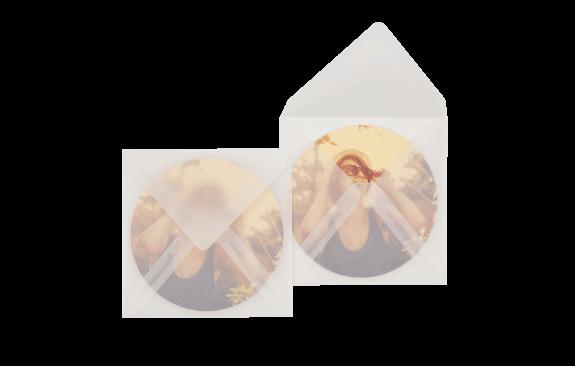 Bierdeckelumschlag Transparent