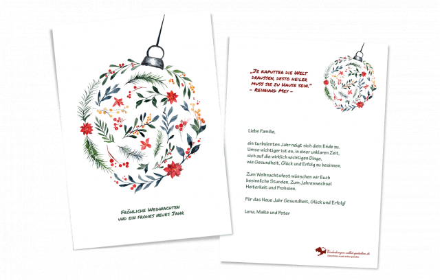 Weihnachtskarte Hoch Christbaumkugel