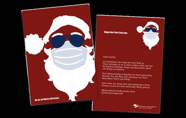Weihnachtskarte Hoch Weihnachtsmann mit Maske