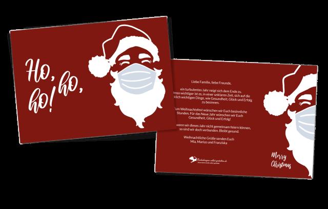 Weihnachtskarte Hoch Weihnachtsmann Corona Edition