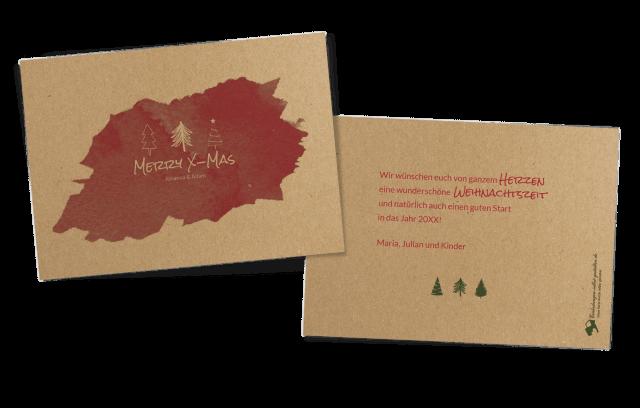 Weihnachtskarte auf Kraftpapier - Tannenbäume