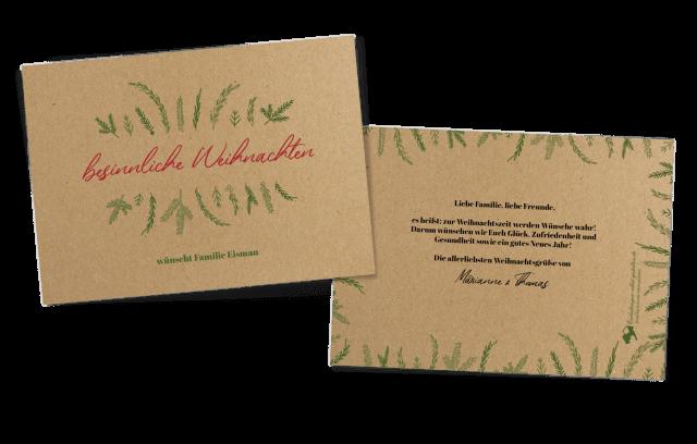 Weihnachtskarte auf Kraftpapier - Tanne
