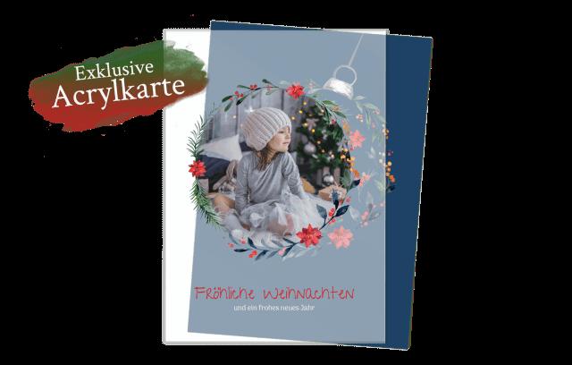 Acrylglas Weihnachtskarte – Christbaumkugel